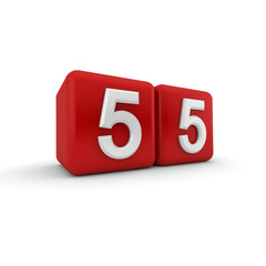 Numerical Fifty-five On Red Cubes