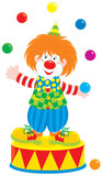 circus clown jugging colorful balls poster