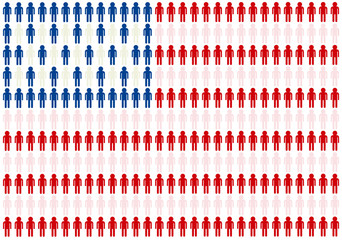 American flag made from people