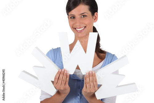 Woman holding the letters WWW