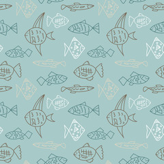 Seamless pattern with cartoon fish