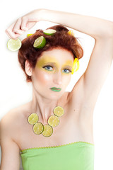 Beautiful woman in Lemon Lime