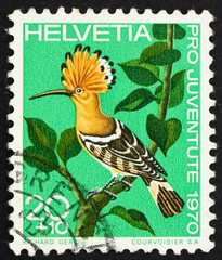Postage stamp Switzerland 1970 Hoopoe, Upupa Epops, bird
