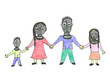 Family with gas masks. Child's drawing of future life.