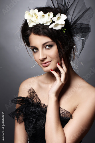 Beautiful model in vintage bridal image