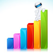 3d Man in Vector Standing on Bar Graph