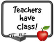 Teachers have Class!  notice board, marker pen, eraser, apple