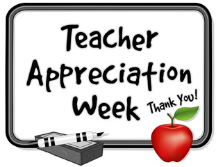 Teacher Appreciation Week, notice board, apple, marker, eraser