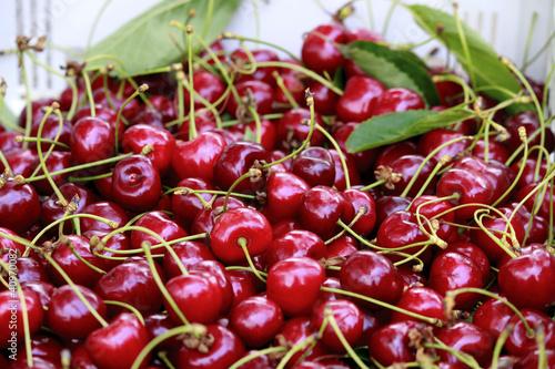 Fotobehang Koffiebonen cesto ricco di ciliegie