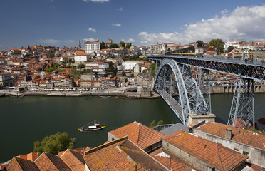 Dom Luís Bridge and Ribeira in Porto, Portugal.