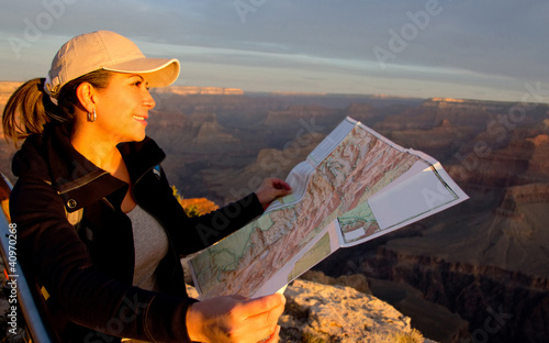 Woman exploring the Grand Canyon