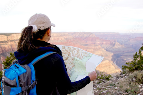 Adventurous female at the Grand Canyon