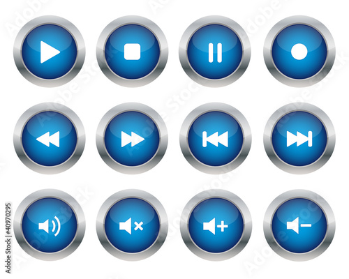 Blue multimedia buttons