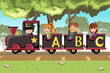 Kids riding alphabet train