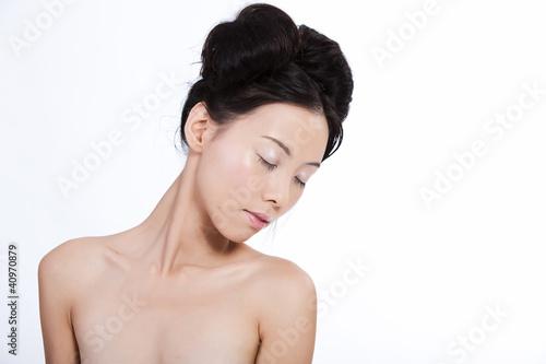 Sensual beautiful asian woman isolated on white