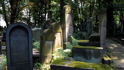 Jewish tombs at changing sunlight