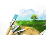 Fototapety Artist brushes with a half finished painted landscape canvas