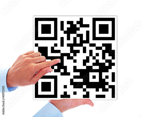 Hand with barcode.