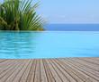 piscine à débordement, margelle bois - 40973247