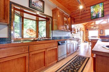 Large kitchen lof cabin house interior.