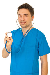 Doctor man showing stethoscope