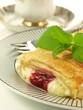 Strudel with cherry, closeup