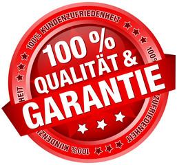 """Button Banner """"100 % Qualität & Garantie"""" rot"""