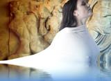 Musa Greek mythology. Female with white veil, water reflection poster