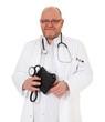 Erfahrener Arzt mit Blutdruckmessgerät