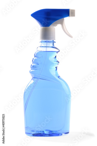transparent dispenser with blue liquid