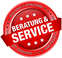 "Button Banner ""Beratung & Service"" rot"