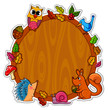 wooden board decorated with animals and plants