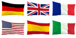Flag of Germany, Great Britain, France, USA, Spain, Italy