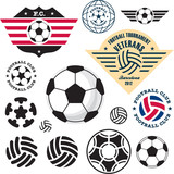 Football Soccer ball. Football Soccer Club emblem vector set.