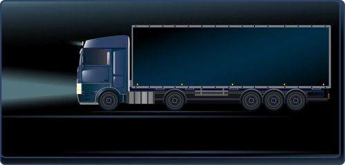 Visiting card with blue truck on the night road