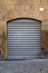 vintage gray roll up door