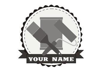 logo, malarstwo, narzędzia, znak graficzny