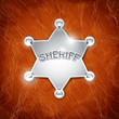 sheriff's metallic badge as star on leather texture vector