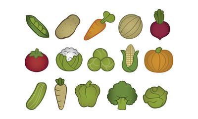 15 Sorten Gemüse illustriert Icon