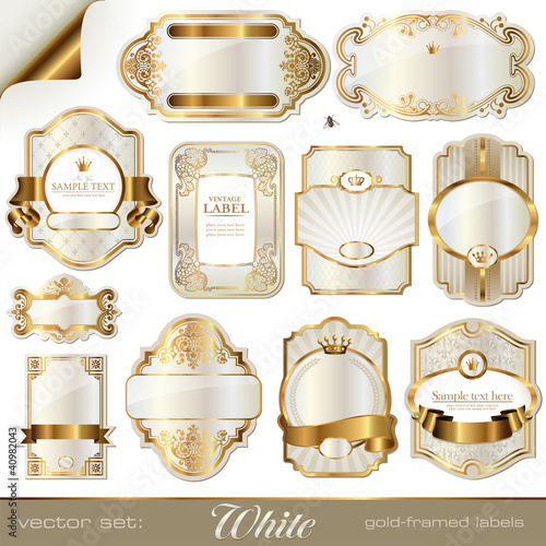 white gold-framed labels - 40982043