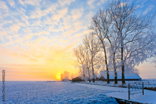 Winter landscape at sunset - 40982225