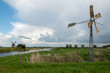 Old metal windmill in a Dutch landscape
