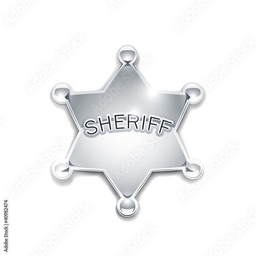 sheriff's metallic badge as star vector illustration isolated
