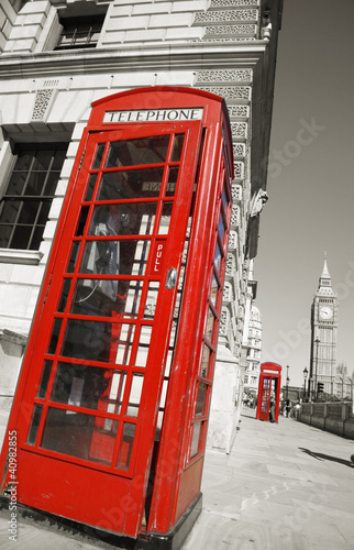 Poster Rood, zwart, wit Big Ben and Red Telephone Booth