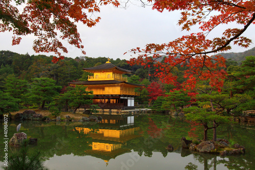 Kinkakuji in autumn season, Golden Pavilion at Kyoto, Japan.