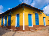 Colorful traditional house in the  town of Trinidad in Cuba
