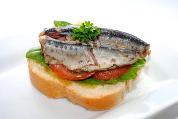 Open Faced Sardine Sandwich