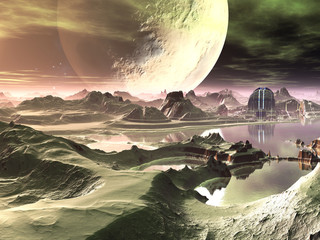 Futuristic Alien Construction on Another Planet