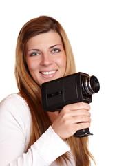 Junge Frau mit Super-8-Kamera