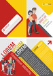 Orange and red template for advertising with teenager students